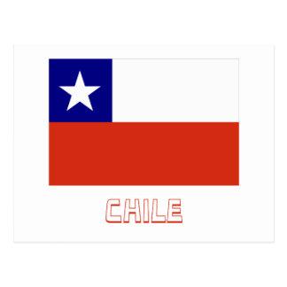 Bandera de Chile con nombre Tarjetas Postales