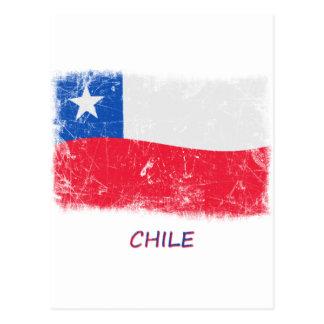 Bandera de Chile del Grunge Tarjetas Postales