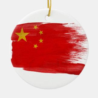 Bandera de China Adorno Navideño Redondo De Cerámica