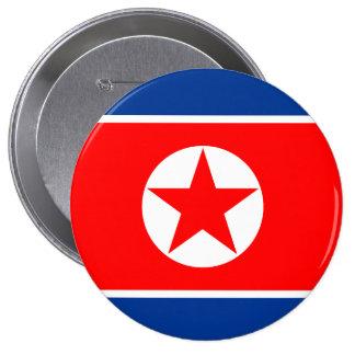 Bandera de Corea del Norte Chapa Redonda De 10 Cm