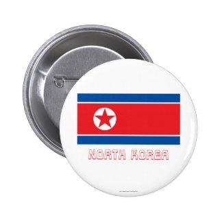 Bandera de Corea del Norte con nombre Pins