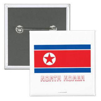 Bandera de Corea del Norte con nombre Chapa Cuadrada 5 Cm