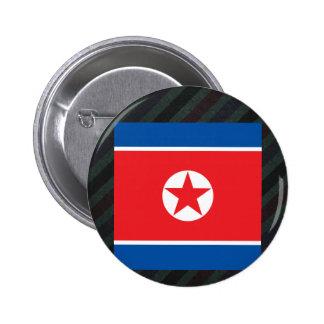 Bandera de Corea del Norte del funcionario en Chapa Redonda 5 Cm