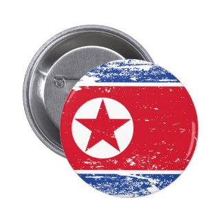 Bandera de Corea del Norte del Grunge Chapa Redonda De 5 Cm