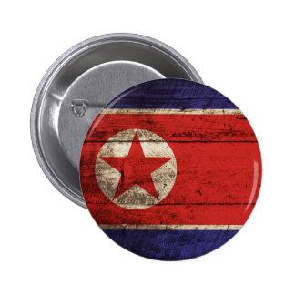 Bandera de Corea del Norte en grano de madera Chapa Redonda De 5 Cm