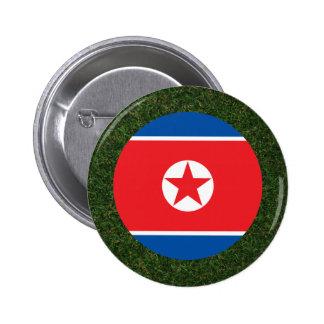 Bandera de Corea del Norte en hierba Chapa Redonda 5 Cm