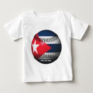 Bandera de Cuba en un béisbol Camiseta De Bebé