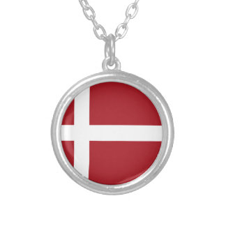 Bandera de Dinamarca Collar Plateado