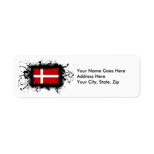 Bandera de Dinamarca Etiqueta De Remite