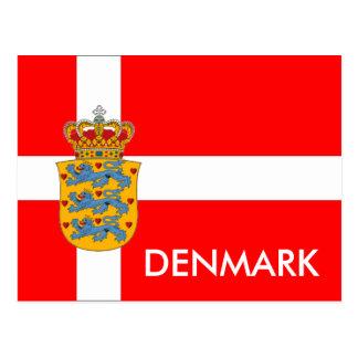 ¡Bandera de Dinamarca y postal del escudo de