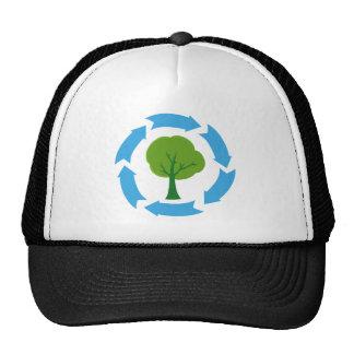 Bandera de Eco con el árbol verde Gorros Bordados