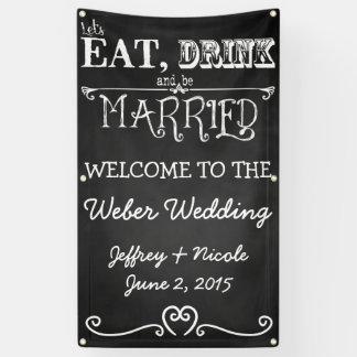 Bandera de encargo personalizada pizarra del boda