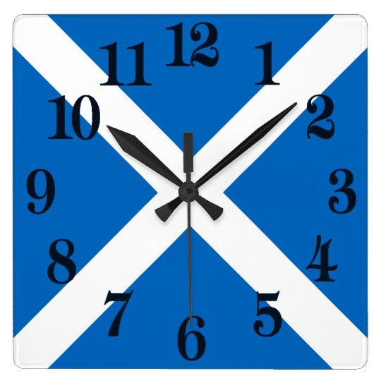 Bandera de Escocia o de Saltire Reloj Cuadrado