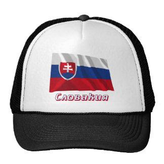 Bandera de Eslovaquia que agita con nombre en ruso Gorro De Camionero