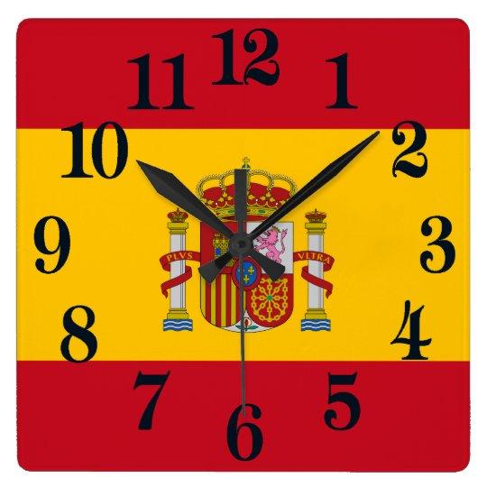 Bandera de España - Bandera de Espana Reloj Cuadrado