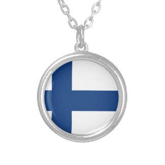 Bandera de Finlandia Collar Plateado