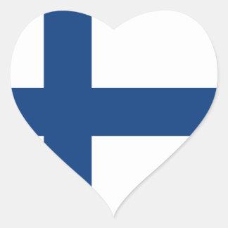 Bandera de Finlandia Pegatina En Forma De Corazón