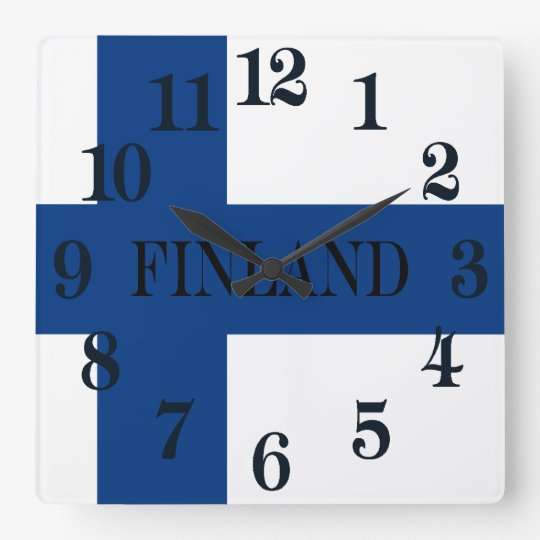 Bandera de Finlandia Suomi cruzado azul Reloj Cuadrado