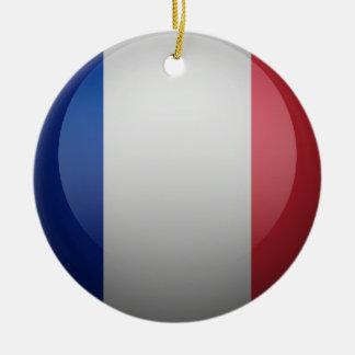 Bandera de Francia Adorno Redondo De Cerámica