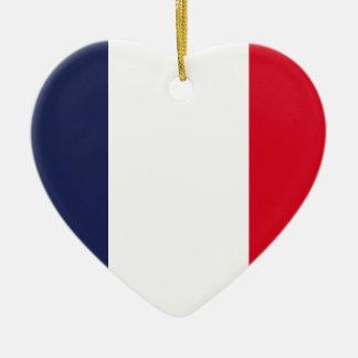 Bandera de Francia Adorno Navideño De Cerámica En Forma De Corazón