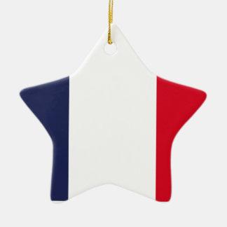 Bandera de Francia Adorno Navideño De Cerámica En Forma De Estrella