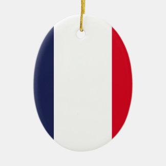Bandera de Francia Adorno Navideño Ovalado De Cerámica
