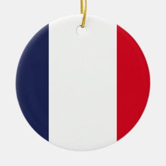 Bandera de Francia Adorno Navideño Redondo De Cerámica