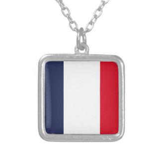 Bandera de Francia Collar Plateado
