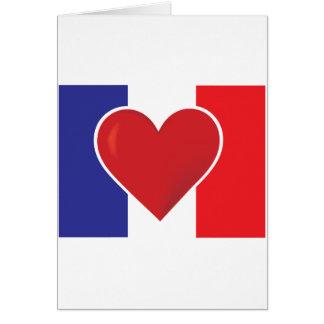 Bandera de Francia del corazón Tarjeta De Felicitación