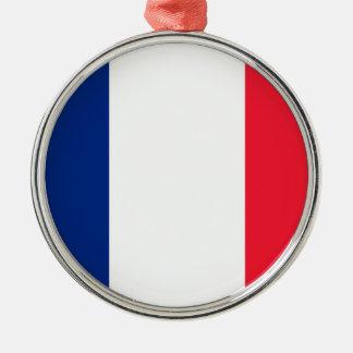 Bandera de Francia del la de Pavillon de Francia Adorno Redondo Plateado