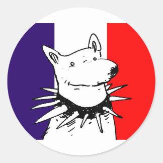 bandera de Francia y perro blanco con el cuello Pegatina Redonda