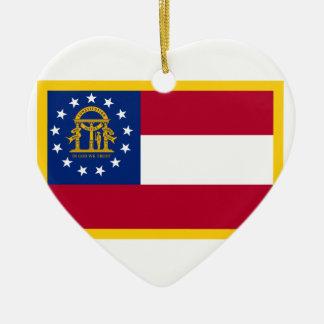 Bandera de Georgia Adorno Navideño De Cerámica En Forma De Corazón