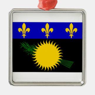 Bandera de Guadalupe (Francia) Adorno Cuadrado Plateado