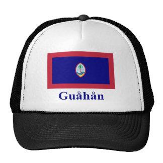 Bandera de Guam con nombre en Chamorro Gorros