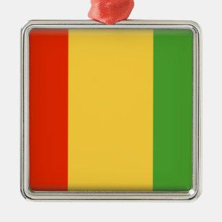 Bandera de Guinea Adorno Cuadrado Plateado