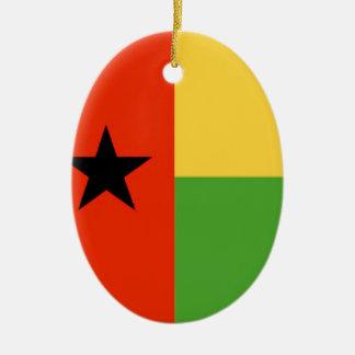Bandera de Guinea-Bissau Adorno Navideño Ovalado De Cerámica