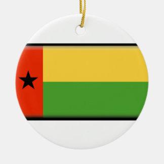 Bandera de Guinea-Bissau Adorno Navideño Redondo De Cerámica
