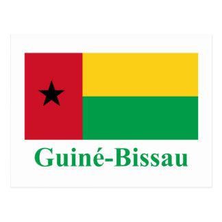 Bandera de Guinea-Bissau con nombre en portugués Postal