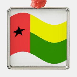 Bandera de Guinea-Bissau que agita Adorno Navideño Cuadrado De Metal
