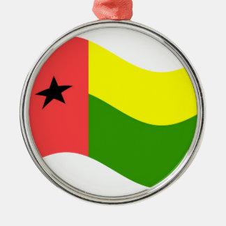 Bandera de Guinea-Bissau que agita Adorno Navideño Redondo De Metal