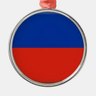 Bandera de Haití Adorno Redondo Plateado