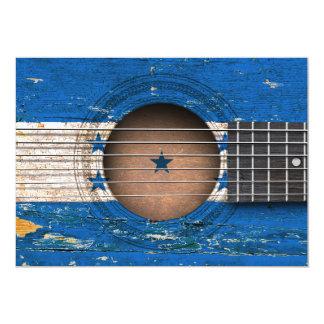 Bandera de Honduras en la guitarra acústica vieja Invitación 12,7 X 17,8 Cm