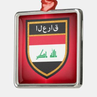 Bandera de Iraq Adorno Navideño Cuadrado De Metal
