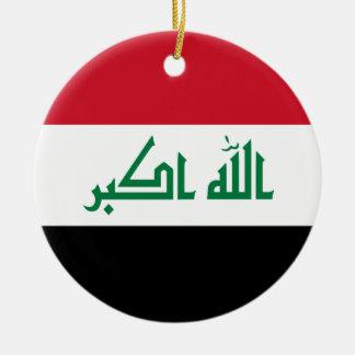 Bandera de Iraq Adorno Navideño Redondo De Cerámica