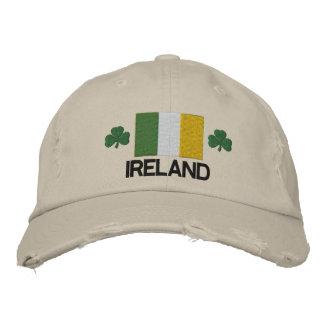 Bandera de Irlanda y gorra bordado trébol