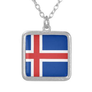 Bandera de Islandia Collar Plateado