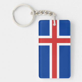 Bandera de Islandia Llavero Rectangular Acrílico A Una Cara