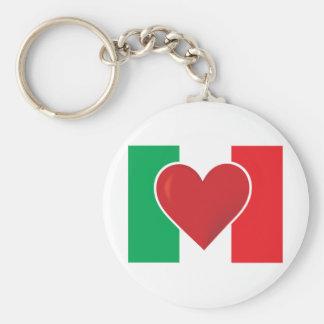 Bandera de Italia del corazón Llavero Redondo Tipo Chapa