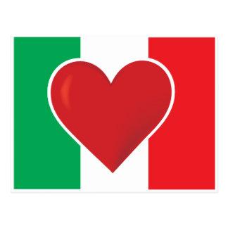 Bandera de Italia del corazón Postal