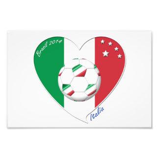 Bandera de ITALIA FÚTBOL del corazón nacional 2014 Arte Fotografico